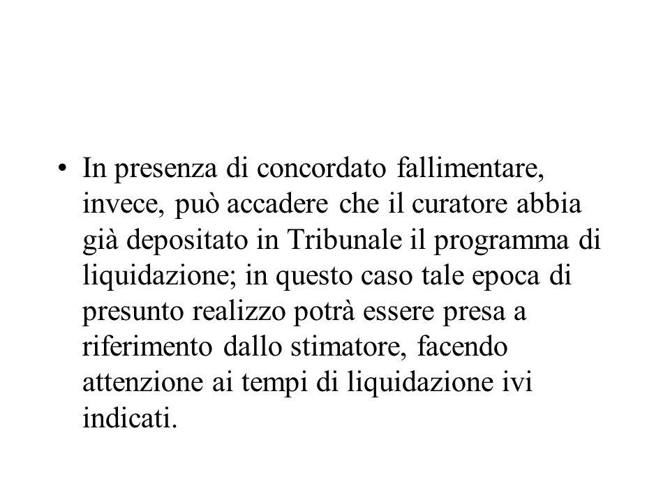 In presenza di concordato fallimentare, invece, può accadere che il curatore abbia già depositato in Tribunale il programma di liquidazione; in questo