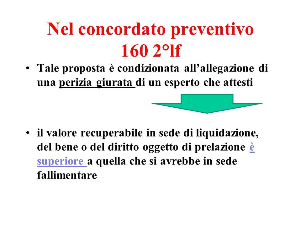 Nel concordato preventivo 160 2°lf Tale proposta è condizionata allallegazione di una perizia giurata di un esperto che attesti il valore recuperabile