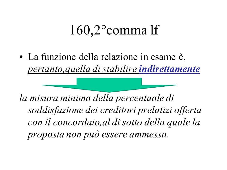 160,2°comma lf La funzione della relazione in esame è, pertanto,quella di stabilire indirettamente la misura minima della percentuale di soddisfazione