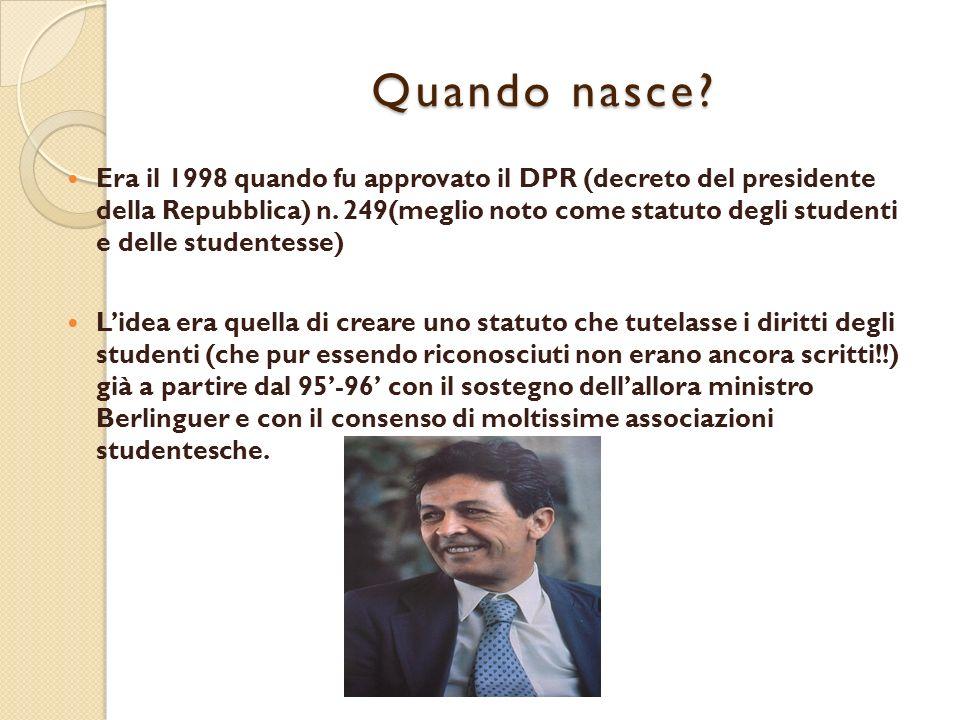 Quando nasce.Era il 1998 quando fu approvato il DPR (decreto del presidente della Repubblica) n.