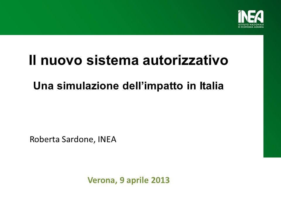 Il nuovo sistema autorizzativo Una simulazione dellimpatto in Italia Roberta Sardone, INEA Verona, 9 aprile 2013