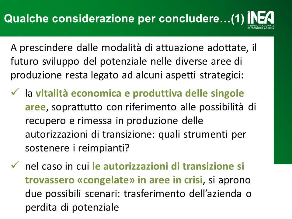 Qualche considerazione per concludere…(1) A prescindere dalle modalità di attuazione adottate, il futuro sviluppo del potenziale nelle diverse aree di
