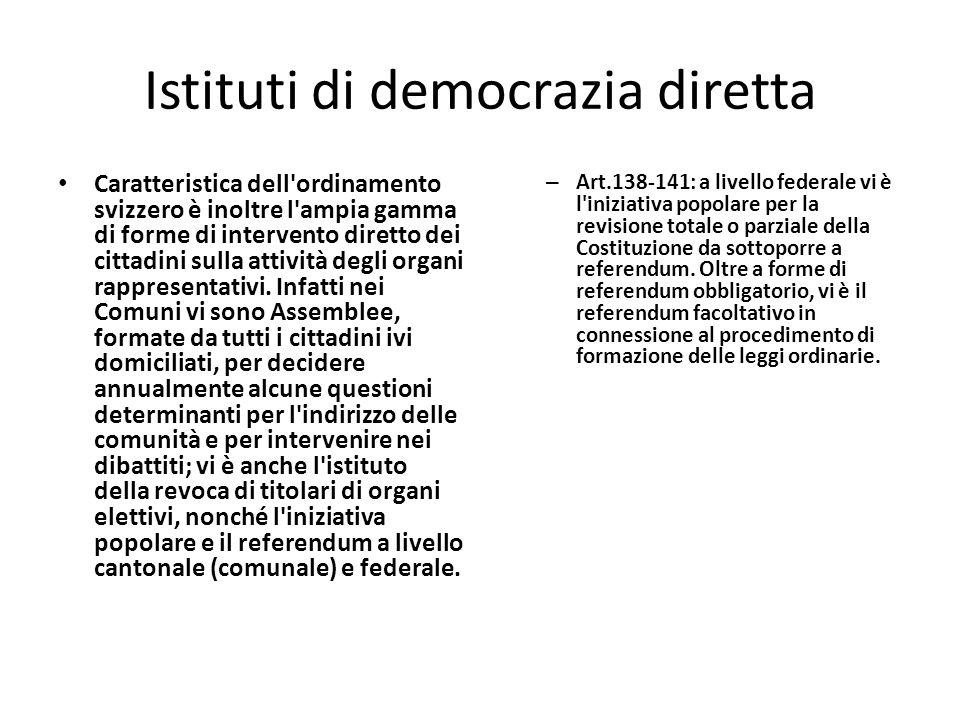 Istituti di democrazia diretta Caratteristica dell ordinamento svizzero è inoltre l ampia gamma di forme di intervento diretto dei cittadini sulla attività degli organi rappresentativi.