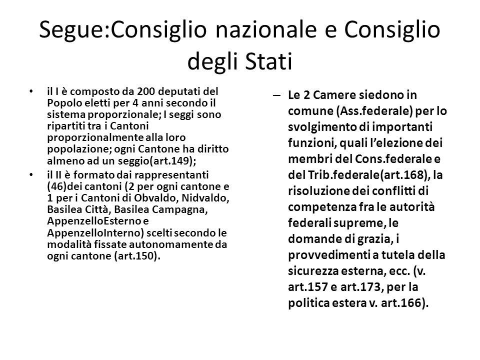 Segue Il Consiglio nazionale e il Consiglio degli Stati siedono separatamente per l esercizio delle competenze in tema di legislazione ordinaria, di revisione costituzionale, di controllo sul Consiglio federale.