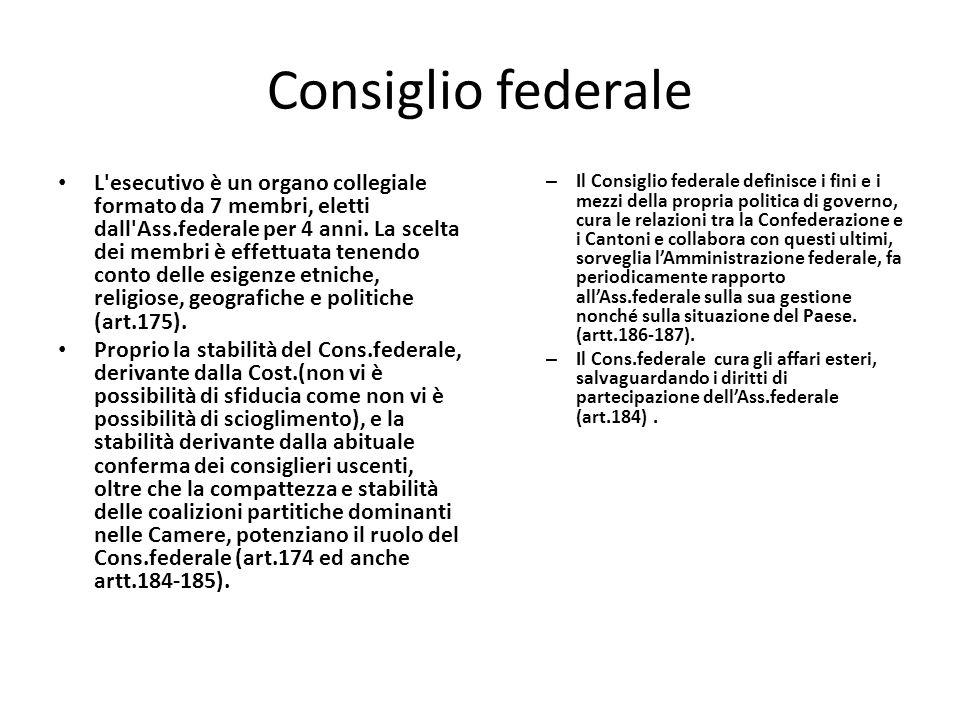 Consiglio federale L esecutivo è un organo collegiale formato da 7 membri, eletti dall Ass.federale per 4 anni.