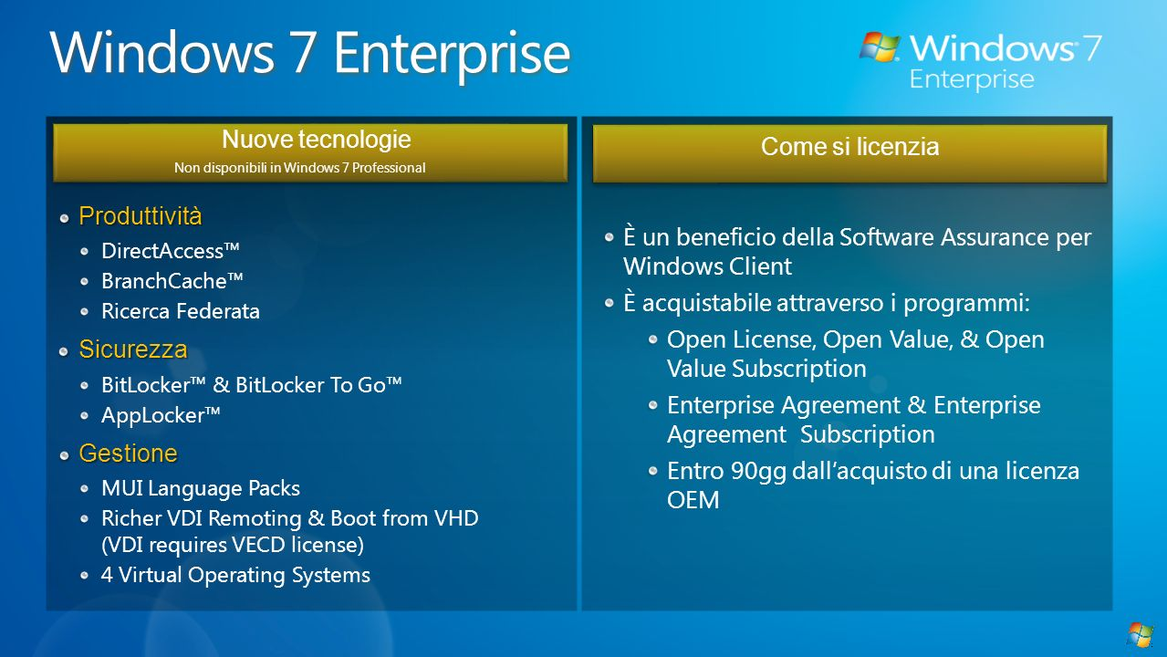 Produttività DirectAccess BranchCache Ricerca FederataSicurezza BitLocker & BitLocker To Go AppLockerGestione MUI Language Packs Richer VDI Remoting & Boot from VHD (VDI requires VECD license) 4 Virtual Operating Systems Come si licenzia È un beneficio della Software Assurance per Windows Client È acquistabile attraverso i programmi: Open License, Open Value, & Open Value Subscription Enterprise Agreement & Enterprise Agreement Subscription Entro 90gg dallacquisto di una licenza OEM Nuove tecnologie Non disponibili in Windows 7 Professional