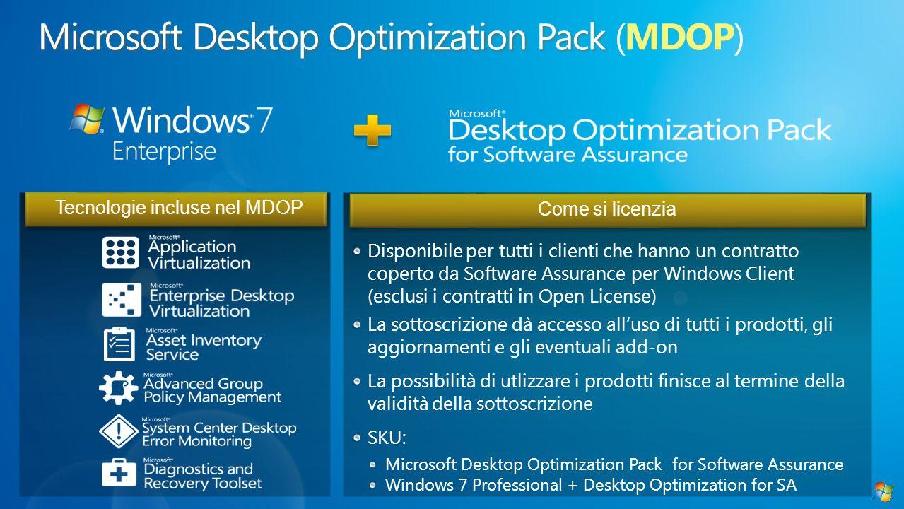 Tecnologie incluse nel MDOPCome si licenzia Disponibile per tutti i clienti che hanno un contratto coperto da Software Assurance per Windows Client (e