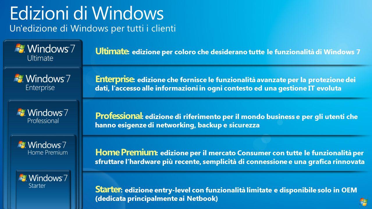 Ultimate : edizione per coloro che desiderano tutte le funzionalità di Windows 7 Enterprise : edizione che fornisce le funzionalità avanzate per la pr