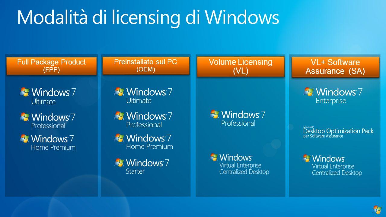 Full Package Product (FPP) Preinstallato sul PC (OEM) Volume Licensing (VL) VL+ Software Assurance (SA)