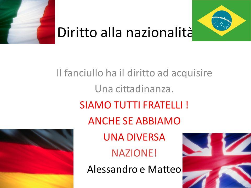 Diritto alla nazionalità Il fanciullo ha il diritto ad acquisire Una cittadinanza.
