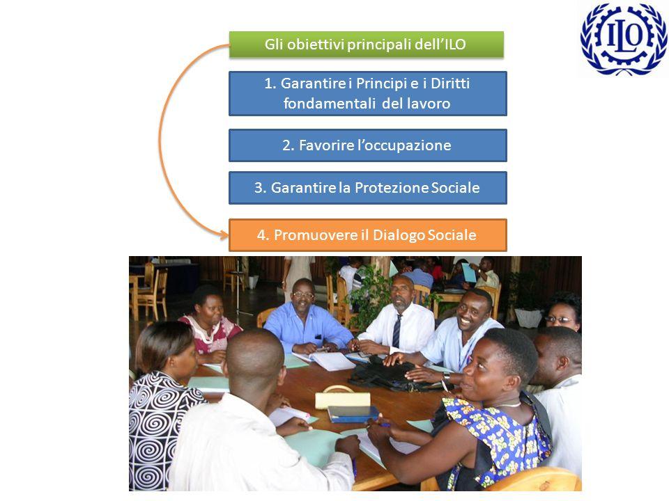 Gli obiettivi principali dellILO 1.Garantire i Principi e i Diritti fondamentali del lavoro 2.