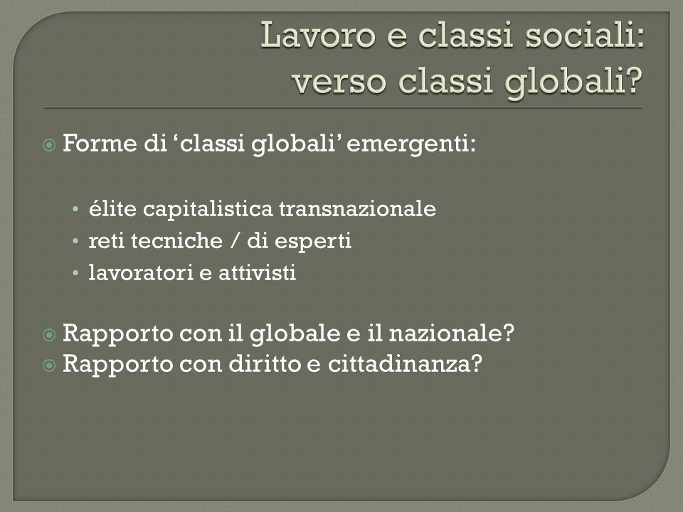 Forme di classi globali emergenti: élite capitalistica transnazionale reti tecniche / di esperti lavoratori e attivisti Rapporto con il globale e il n