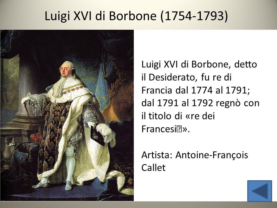 Luigi XVI di Borbone, detto il Desiderato, fu re di Francia dal 1774 al 1791; dal 1791 al 1792 regnò con il titolo di «re dei Francesi». Artista: Ant