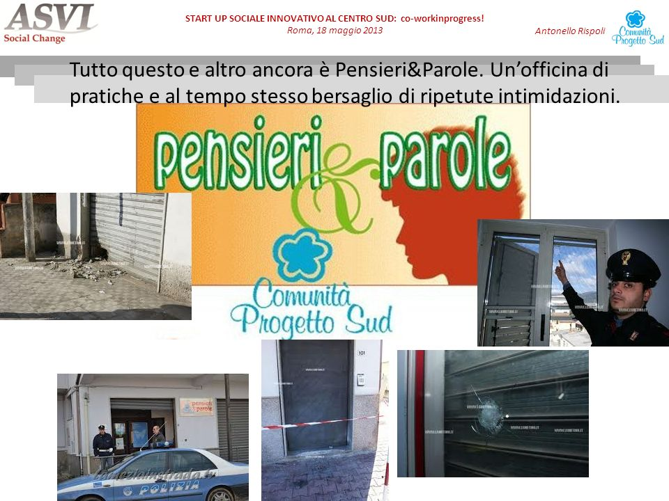 START UP SOCIALE INNOVATIVO AL CENTRO SUD: co-workinprogress.