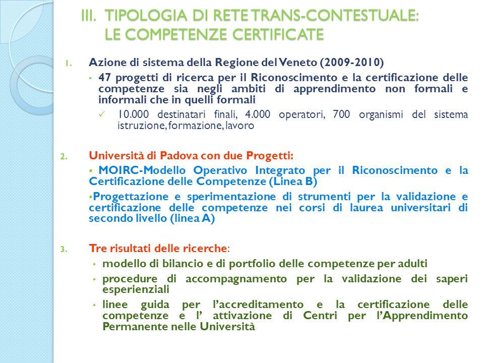 III.TIPOLOGIA DI RETE TRANS-CONTESTUALE: LE COMPETENZE CERTIFICATE 1.