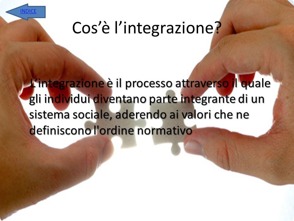 Cosè lintegrazione? L integrazione è il processo attraverso il quale gli individui diventano parte integrante di un sistema sociale, aderendo ai valor