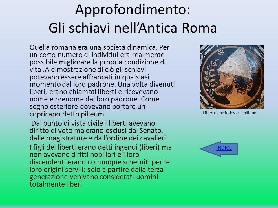 Approfondimento: Gli schiavi nellAntica Roma Quella romana era una società dinamica. Per un certo numero di individui era realmente possibile migliora