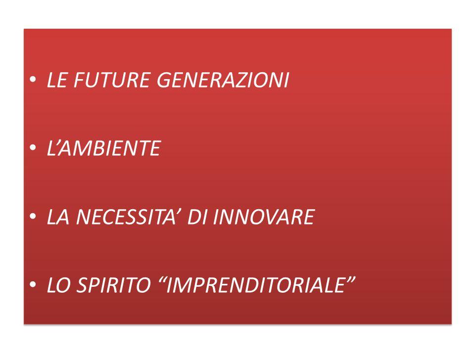 LE FUTURE GENERAZIONI LAMBIENTE LA NECESSITA DI INNOVARE LO SPIRITO IMPRENDITORIALE LE FUTURE GENERAZIONI LAMBIENTE LA NECESSITA DI INNOVARE LO SPIRIT