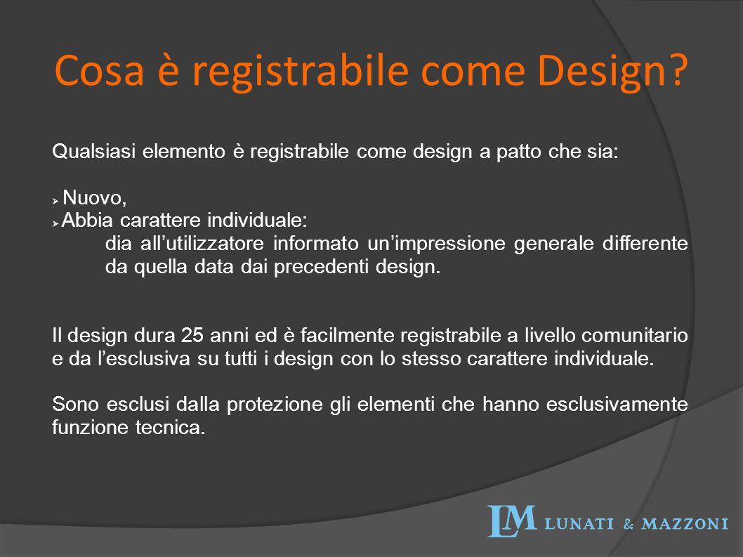 Cosa è registrabile come Design? Qualsiasi elemento è registrabile come design a patto che sia: Nuovo, Abbia carattere individuale: dia allutilizzator