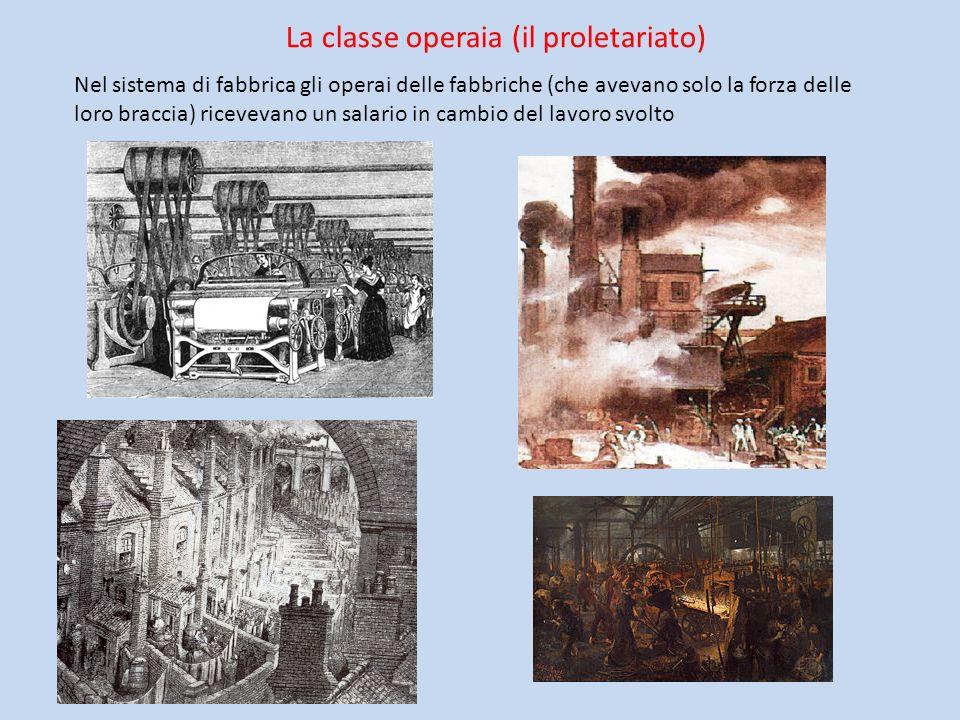 La classe operaia (il proletariato) Nel sistema di fabbrica gli operai delle fabbriche (che avevano solo la forza delle loro braccia) ricevevano un sa
