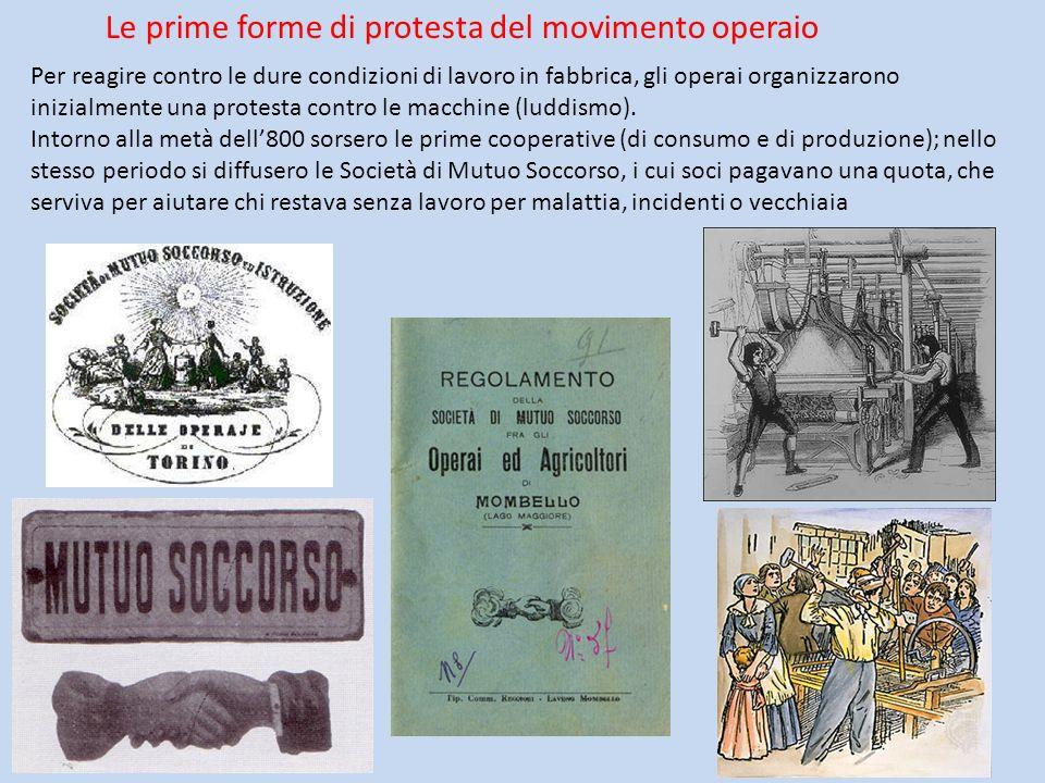 Le prime forme di protesta del movimento operaio Per reagire contro le dure condizioni di lavoro in fabbrica, gli operai organizzarono inizialmente un