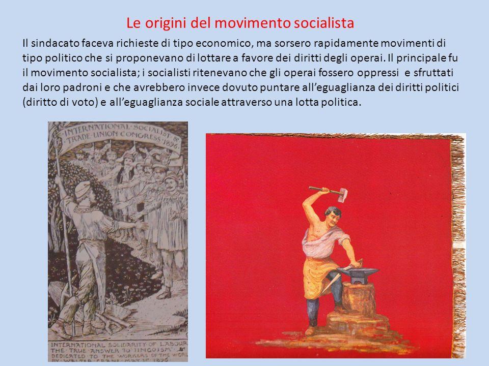 Le origini del movimento socialista Il sindacato faceva richieste di tipo economico, ma sorsero rapidamente movimenti di tipo politico che si proponev
