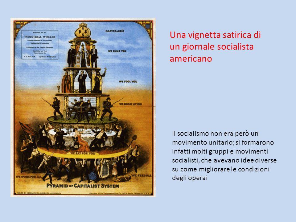 Una vignetta satirica di un giornale socialista americano Il socialismo non era però un movimento unitario; si formarono infatti molti gruppi e movime
