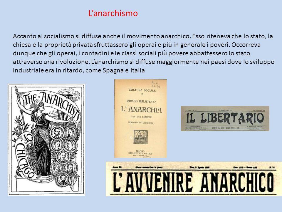 Lanarchismo Accanto al socialismo si diffuse anche il movimento anarchico. Esso riteneva che lo stato, la chiesa e la proprietà privata sfruttassero g