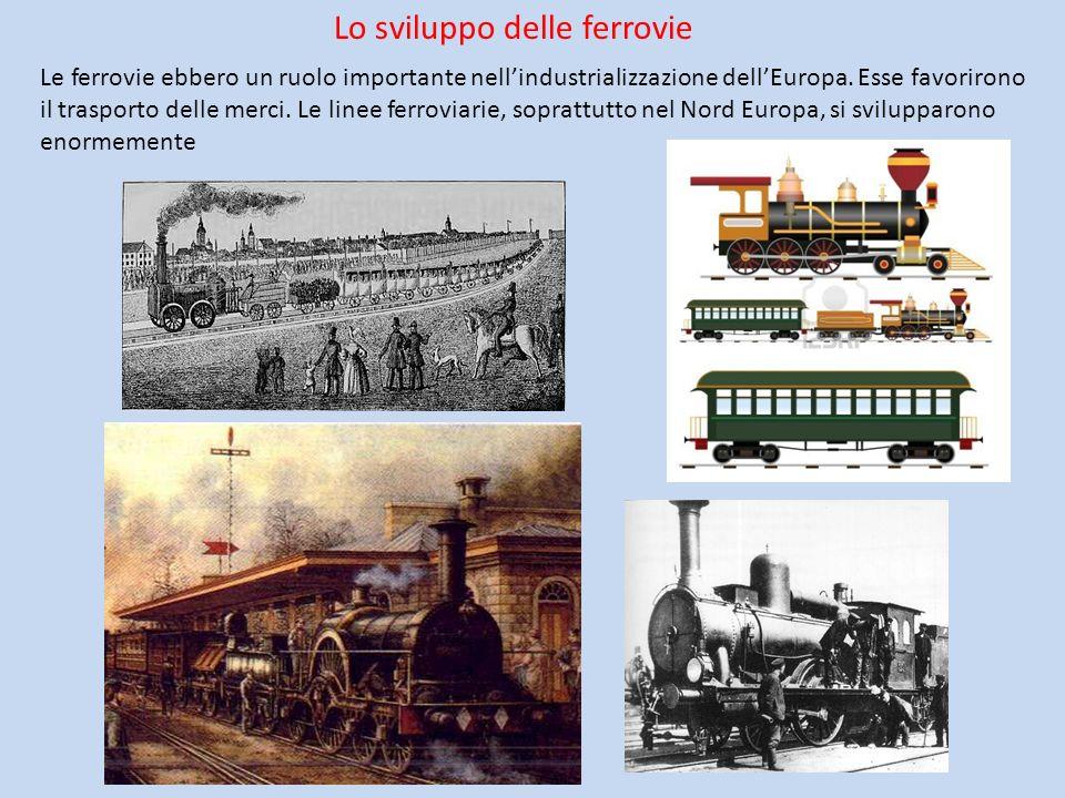 Lo sviluppo delle ferrovie Le ferrovie ebbero un ruolo importante nellindustrializzazione dellEuropa. Esse favorirono il trasporto delle merci. Le lin