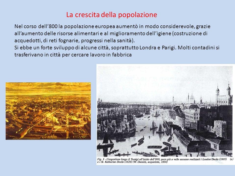 La crescita della popolazione Nel corso dell800 la popolazione europea aumentò in modo considerevole, grazie allaumento delle risorse alimentari e al