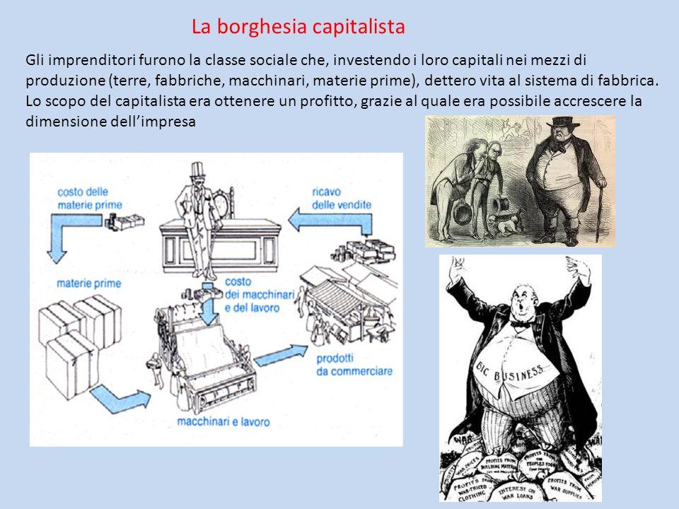 La borghesia capitalista Gli imprenditori furono la classe sociale che, investendo i loro capitali nei mezzi di produzione (terre, fabbriche, macchina