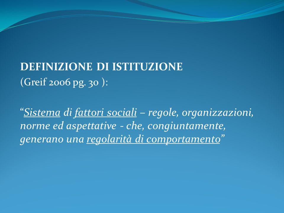 DEFINIZIONE DI ISTITUZIONE (Greif 2006 pg.