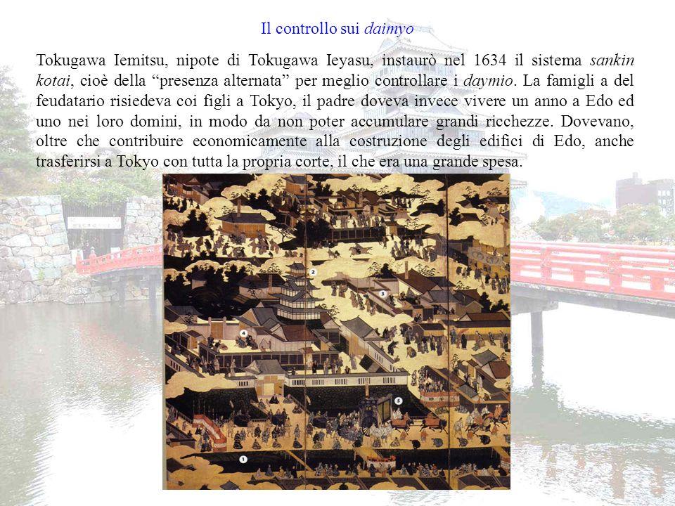 Il controllo sul popolo Per estendere il proprio potere su tutto il popolo giapponese i Tokugawa ostacolarono la diffusione del Cristianesimo obbligando tutti i sudditi ad iscriversi in uno dei tanti templi buddisti.