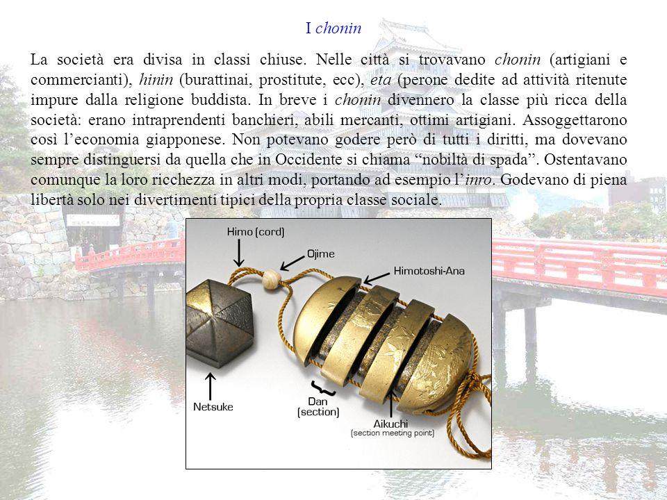 Divertimenti e isolamento giapponese I principali passatempi dei chonin erano, oltre alla frequentazione delle prostitute, il sumo e il teatro (ukiyo-e).