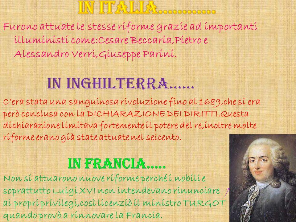 Furono attuate le stesse riforme grazie ad importanti illuministi come:Cesare Beccaria,Pietro e Alessandro Verri,Giuseppe Parini. IN INGHILTERRA…… Cer