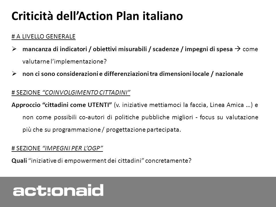 Criticità dellAction Plan italiano # A LIVELLO GENERALE mancanza di indicatori / obiettivi misurabili / scadenze / impegni di spesa come valutarne limplementazione.