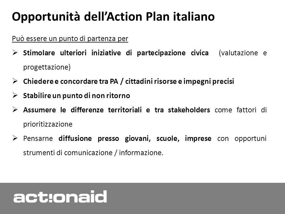 . Opportunità dellAction Plan italiano Può essere un punto di partenza per Stimolare ulteriori iniziative di partecipazione civica (valutazione e prog