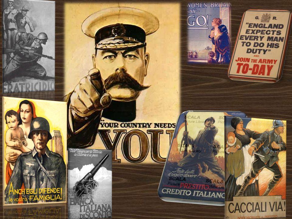 Propagande e cartoline di guerra Per convincere la gente ad arruolarsi le potenze dellIntesa e gli imperi centrali ricorsero a toni molto violenti com