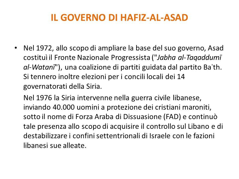 IL GOVERNO DI HAFIZ-AL-ASAD Nel 1972, allo scopo di ampliare la base del suo governo, Asad costituì il Fronte Nazionale Progressista (