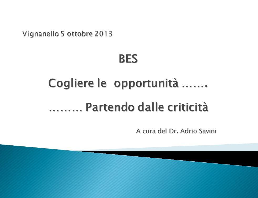 BES Cogliere le opportunità ……. ……… Partendo dalle criticità A cura del Dr. Adrio Savini
