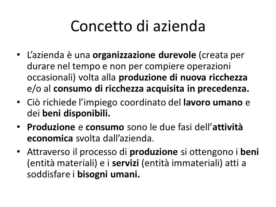 Concetto di azienda Lazienda è una organizzazione durevole (creata per durare nel tempo e non per compiere operazioni occasionali) volta alla produzione di nuova ricchezza e/o al consumo di ricchezza acquisita in precedenza.