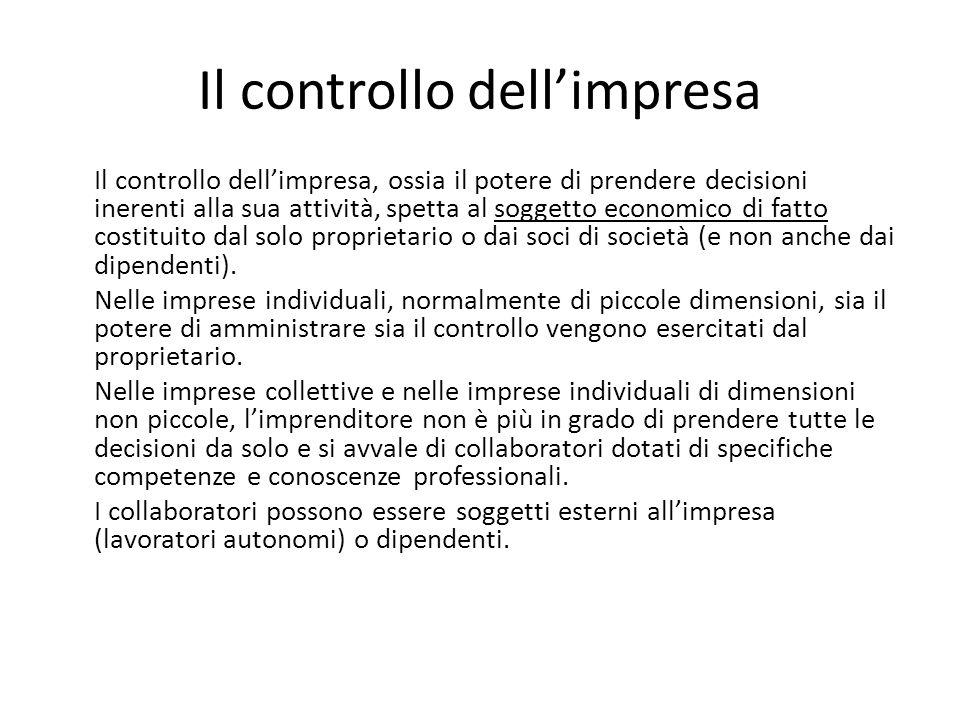 Il controllo dellimpresa Il controllo dellimpresa, ossia il potere di prendere decisioni inerenti alla sua attività, spetta al soggetto economico di f