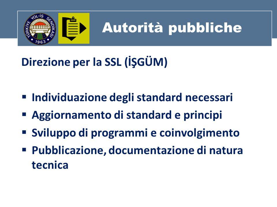 Autorità pubbliche Direzione per la SSL (İŞGÜM) Individuazione degli standard necessari Aggiornamento di standard e principi Sviluppo di programmi e coinvolgimento Pubblicazione, documentazione di natura tecnica