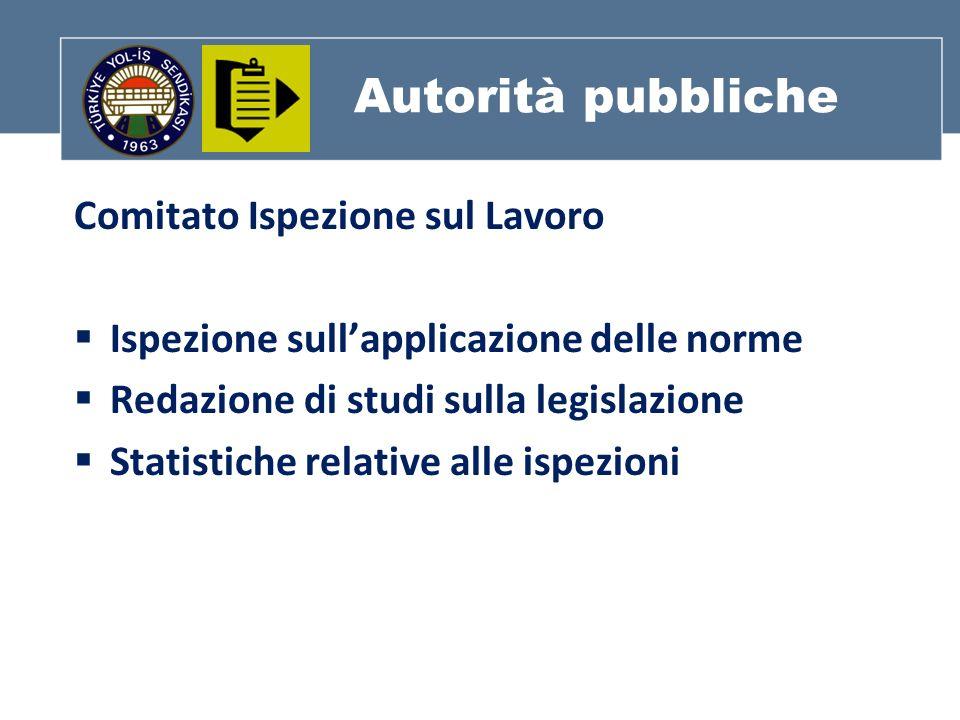 Autorità pubbliche Comitato Ispezione sul Lavoro Ispezione sullapplicazione delle norme Redazione di studi sulla legislazione Statistiche relative alle ispezioni