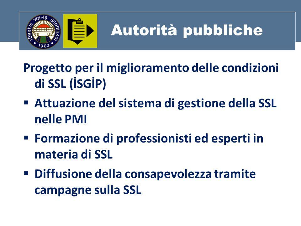 Autorità pubbliche Progetto per il miglioramento delle condizioni di SSL (İSGİP) Attuazione del sistema di gestione della SSL nelle PMI Formazione di professionisti ed esperti in materia di SSL Diffusione della consapevolezza tramite campagne sulla SSL