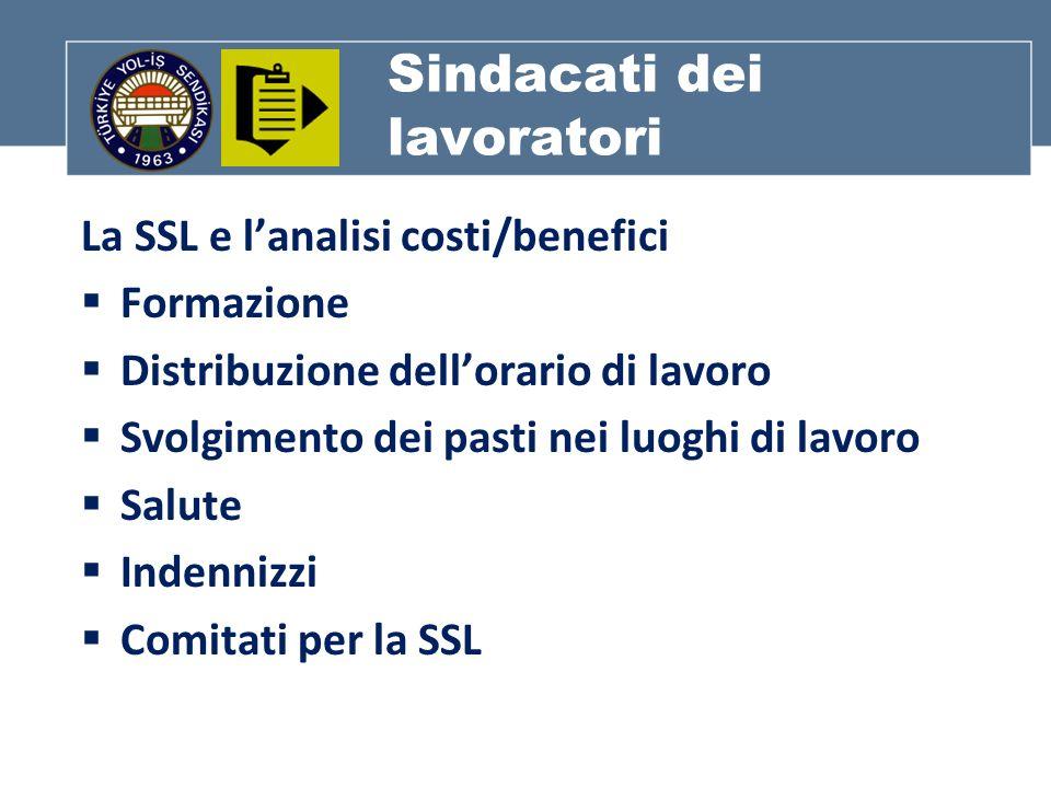 Sindacati dei lavoratori La SSL e lanalisi costi/benefici Formazione Distribuzione dellorario di lavoro Svolgimento dei pasti nei luoghi di lavoro Salute Indennizzi Comitati per la SSL