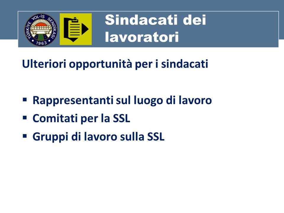 Sindacati dei lavoratori Ulteriori opportunità per i sindacati Rappresentanti sul luogo di lavoro Comitati per la SSL Gruppi di lavoro sulla SSL
