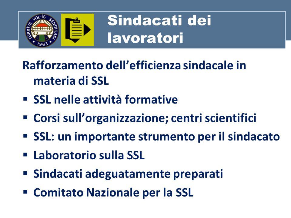 Sindacati dei lavoratori Rafforzamento dellefficienza sindacale in materia di SSL SSL nelle attività formative Corsi sullorganizzazione; centri scientifici SSL: un importante strumento per il sindacato Laboratorio sulla SSL Sindacati adeguatamente preparati Comitato Nazionale per la SSL