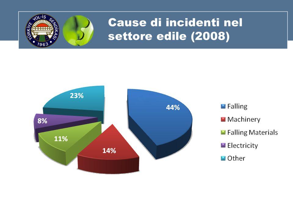 Cause di incidenti nel settore edile (2008)