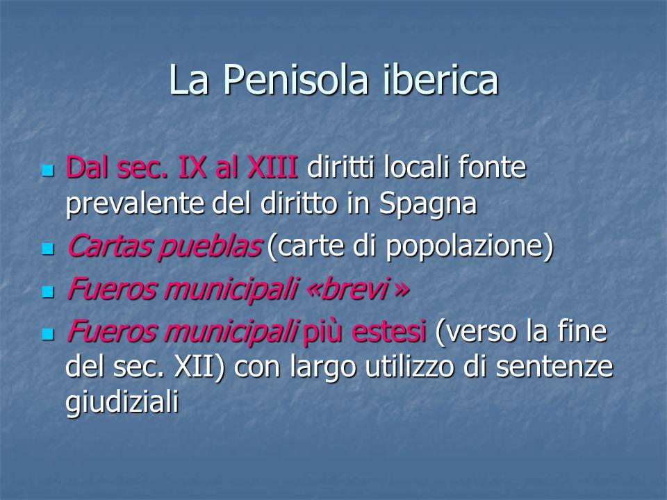 La Penisola iberica Dal sec. IX al XIII diritti locali fonte prevalente del diritto in Spagna Dal sec. IX al XIII diritti locali fonte prevalente del